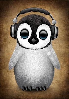 Baby Penguin Dj With Headphones Poster by Jeff Bartels