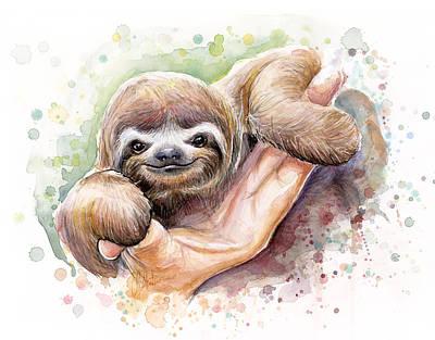 Baby Sloth Watercolor Poster by Olga Shvartsur