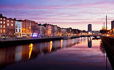 Poster featuring the photograph Bachelors Walk And River Liffey At Dawn - Dublin by Barry O Carroll