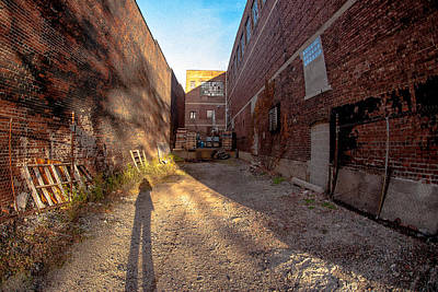 Poster featuring the photograph Back Alley Shadow by Kimberleigh Ladd