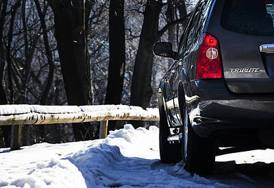 Back Left Side Of Mazda Tribute On The Mountain Road Poster