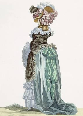 Back View Of A Promenade Gown, Engraved Poster by Francois Louis Joseph Watteau