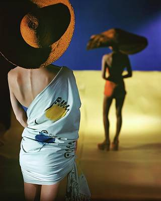 Back View Of Two Models Wearing Sarongs Poster by Serge Balkin