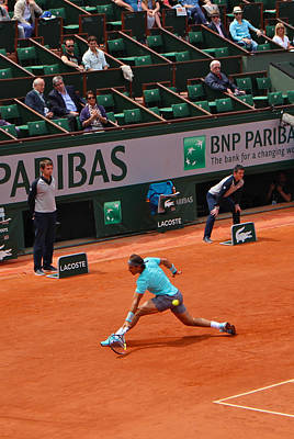 Rafael Nadal's Backhand Slide Poster by Alexi Hoeft