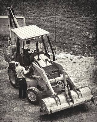 Backhoe Bw Poster by Rudy Umans
