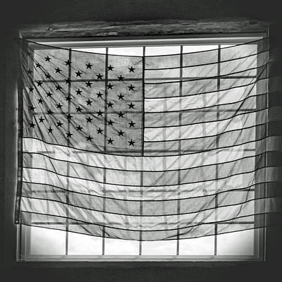 Backlit American Flag In Black And White Poster by Photographic Arts And Design Studio