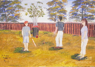 Poster featuring the painting Backyard Cricket Under The Hot Australian Sun by Pamela  Meredith