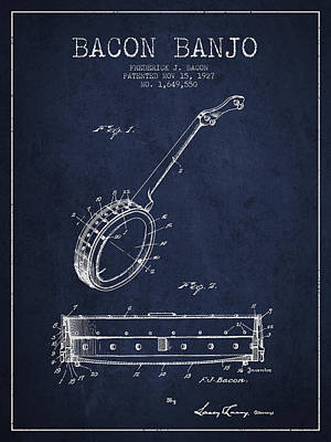 Bacon Banjo Patent Drawing From 1929 - Navy Blue Poster