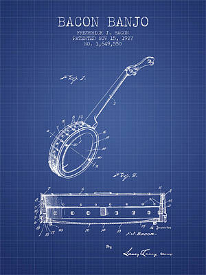 Bacon Banjo Patent From 1927 - Blueprint Poster