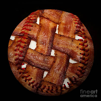 Bacon Weave Baseball Square Poster by Andee Design