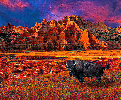 Badlands Bison American Icon Poster by Michele Avanti