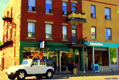 Bagels And Tea St Viateur Bakery And Davids Tea Room Montreal City Scenes Art Carole Spandau Poster