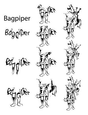 Bagpiper Process Poster by Michael Lee