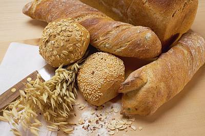 Baguettes, Wholemeal Rolls, Tin Loaf And Cereal Ears Poster