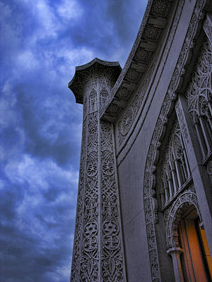 Poster featuring the photograph Bahai Temple Detail At Dusk II by John Hansen