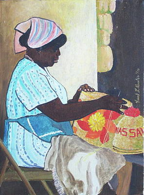 Bahamian Woman Weaving Poster by Frank Hunter