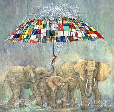Bailando Bajo La Lluvia. Mondrian Umbrella Poster
