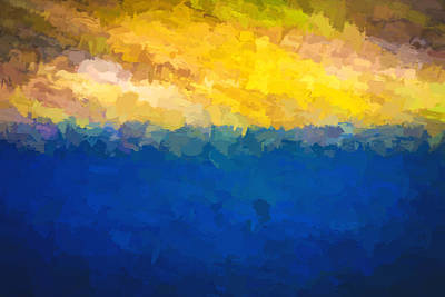 Baja Sunrise Abstract Digital Painting Poster by Rich Franco