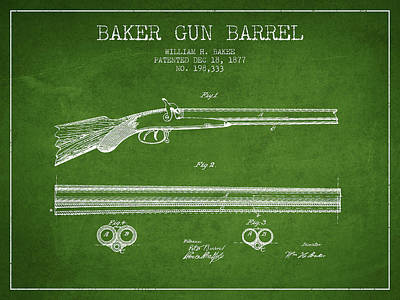 Baker Gun Barrel Patent Drawing From 1877- Green Poster by Aged Pixel