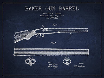 Baker Gun Barrel Patent Drawing From 1877- Navy Blue Poster by Aged Pixel