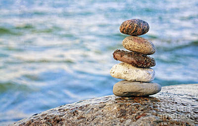 Balanced Pebbles Poster by Charline Xia