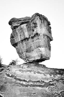 Balanced Rock In Black And White Poster