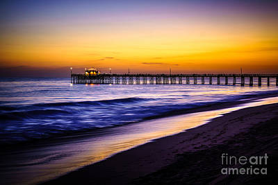 Balboa Pier At Sunset In Newport Beach California Poster by Paul Velgos