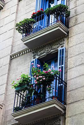 Balconies In Bloom Poster by Menachem Ganon