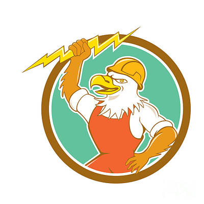 Bald Eagle Electrician Lightning Bolt Circle Cartoon Poster