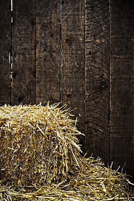 Bale Of Straw And Wooden Background Poster