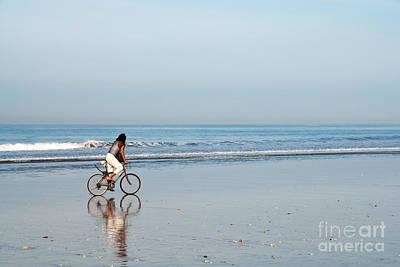 Bali Kuta Beach Cyclist Poster by Rick Piper Photography
