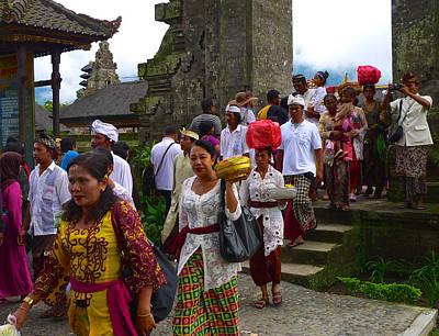 Balinese Leaving Beratan Temple Bali Poster