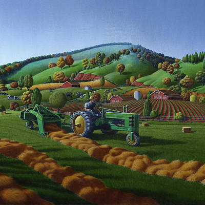Baling Hay Field - John Deere Tractor - Farm Country Landscape Square Format Poster by Walt Curlee