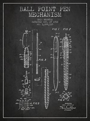 Ball Point Pen Mechansim Patent From 1966 - Charcoal Poster
