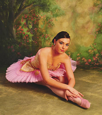 Ballerina In The Rose Garden Poster by ARTography by Pamela Smale Williams