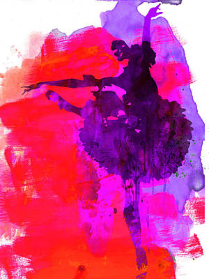 Ballerina Watercolor 3 Poster by Naxart Studio