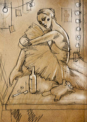 Ballerina With Bottle And Spoon And Teddy Bear Poster by H James Hoff