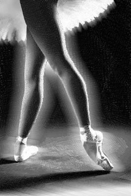 Ballet Dancer Legs Black And White Poster by Tony Rubino