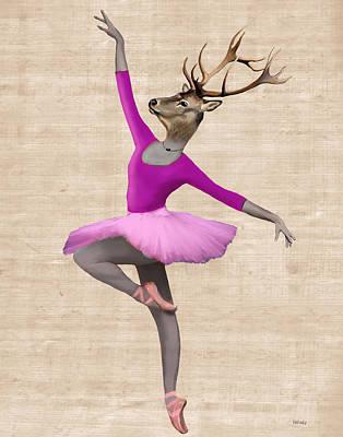 Ballet Deer Pink Poster by Kelly McLaughlan