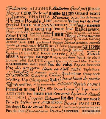 Ballet Terms Black On Orange Poster