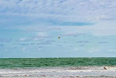 Balloon Hooping Over Isla Verde Poster by Sandra Pena de Ortiz