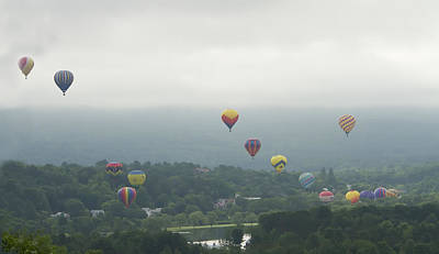 Balloon Rise Over Quechee Vermont Poster