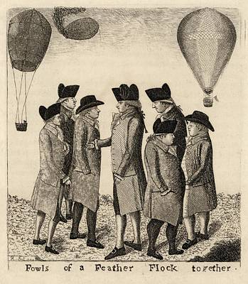 Balloonists Cartoon, 1785 Poster