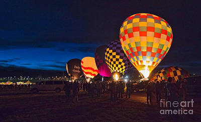 Balloons And The Morning Glow In Panorama Poster by Mimi Ditchie