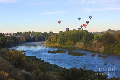 Balloons Cruising Over Prosser With River And Mount Adams Poster by Carol Groenen
