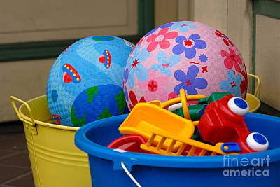 Balls And Toys In Buckets Poster