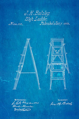 Balsley Step Ladder Patent Art 1862 Blueprint Poster