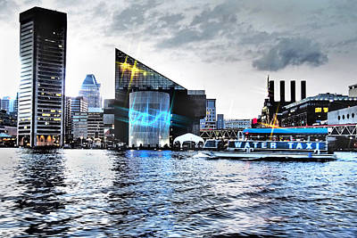 Baltimore - Harborplace - Inner Harbor At Night  Poster by Donna Haggerty