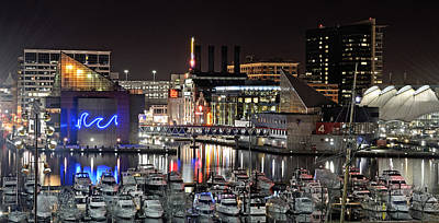 Baltimore Inner Harbor At Night Poster by Brendan Reals