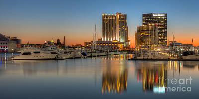 Baltimore Inner Harbor East Skyline At Dawn Panoramic I Poster by Clarence Holmes